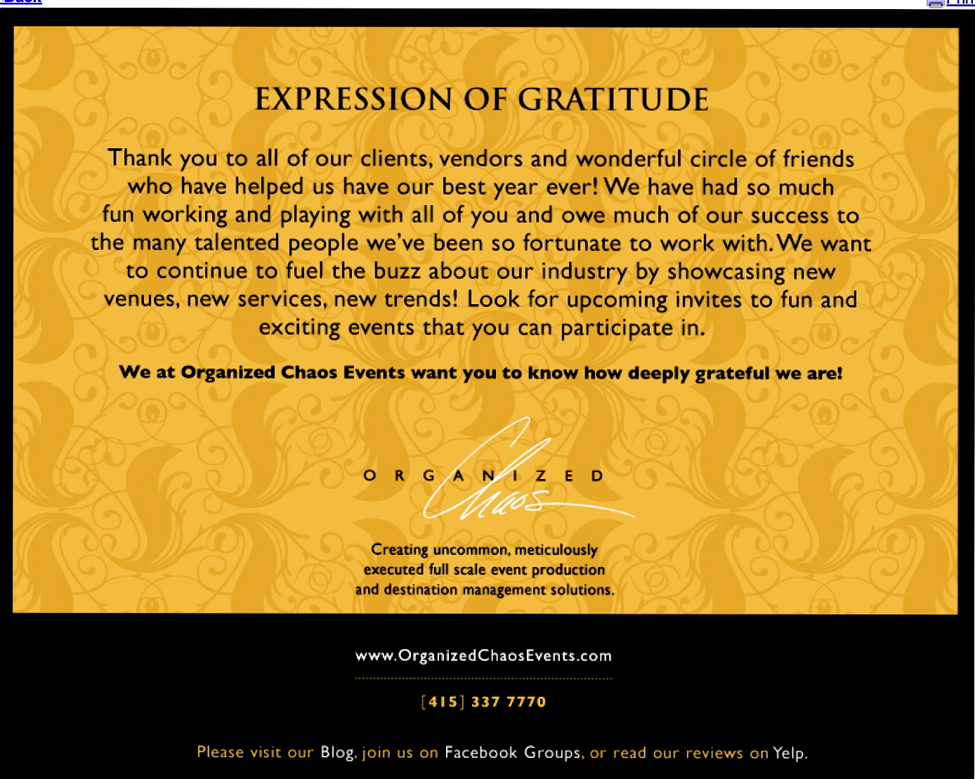 Thank You from Organized Chaos Events
